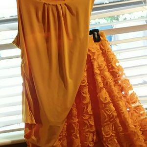 Marigold Yellow, lace skirt ( with matching top)